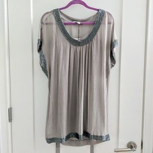 NWT Diane von Furstenberg silver beaded silk dress